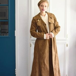 MINT VINTAGE 70s Leather Trench Coat